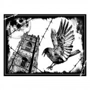 CI-319 - 'The Crow' Art Rubber Stamp, 93mm x 70mm