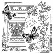 CI-333 - 'Corinthian Butterflies' Art Rubber Stamp, 85mm x 90mm
