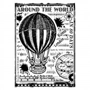 CI-336 - 'Around the World' Art Rubber Stamp, 67mm x 90mm