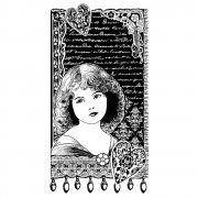 CI-338 - 'Young Girl Dreaming' Art Rubber Stamp, 60mm x 110mm