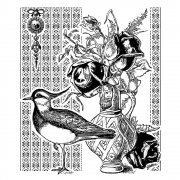 CI-345 - 'Seabird and Roses' Art Rubber Stamp, 75mm x 90mm