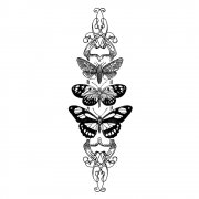 CI-347 - 'Butterfly Trio Panel' Art Rubber Stamp, 45mm x 130mm