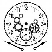 CI-353 - 'Cog Workings Clock Face' Art Rubber Stamp, 85mm x 90mm
