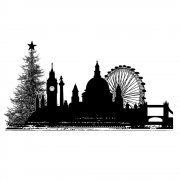 CI-359 - 'Christmas City Skyline' Art Rubber Stamp, 110mm x 58mm