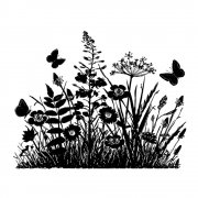 CI-367 - 'Wild Flowers and Butterflies Silhouette' Art Rubber Stamp, 95mm x 75mm