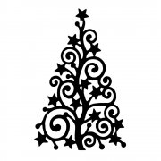 CI-368 - 'Starry Christmas Tree' Art Rubber Stamp, 60mm x 93mm