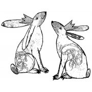 CI-372 - 'Crowned Bunnies' Art Rubber Stamp, 94mm x 71mm