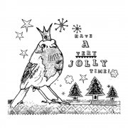 CI-375 - 'Jolly Robin' Art Rubber Stamp, 92mm x 80mm
