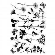 CI-226 - 'Wild Flowers' Art Rubber Stamps, 96mm x 137mm