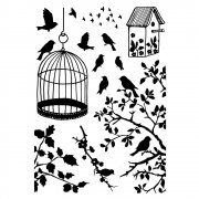 CI-234 - 'Birds, Branches and Cage' Art Rubber Stamps, 90mm x 128mm