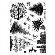 CI-257 - 'Mini Christmas Trees' Art Rubber Stamps, 96mm x 137mm