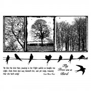 CI-287 - 'Birds on a Wire' Art Rubber Stamps, 96mm x 137mm