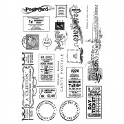 CI-307 - 'Vintage Tickets and Ephemera' Art Rubber Stamps, 96mm x 137mm