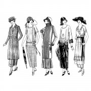 CI-323 - 'Fashionable Twenties Ladies' Art Rubber Stamps, 96mm x 137mm