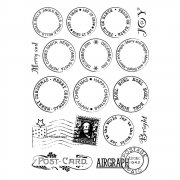 CI-326 - 'Christmas Postmark Sentiments' Art Rubber Stamps, 96mm x 137mm