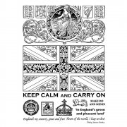 CI-334 - 'Keep Calm and Carry On' Art Rubber Stamps, 96mm x 137mm