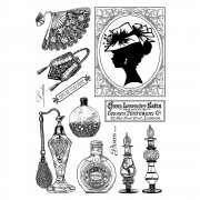 CI-335 - 'A Lady's Boudoir' Art Rubber Stamps, 96mm x 137mm