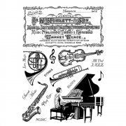 CI-366 - 'Musical Notes' Art Rubber Stamps, 96mm x 137mm