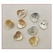 Must Haves - 'Natural Shell Heart Shaped Buttons', 10mm x 10mm