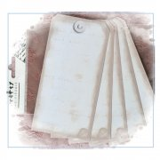 Printed Tags - '5 Large (Portrait) Printed Shabby Tags', 80mm x 160mm