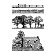 CI-460 - 'Build a Landscape' Art Rubber Stamps, 96mm x 137mm