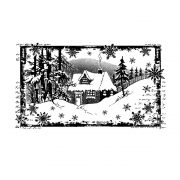 CI-463 - 'Little Cottage in the Snow' Art Rubber Stamp, 110mm x 64mm