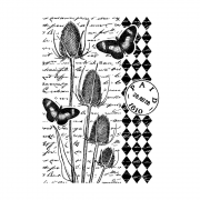 CI-472 - 'Tempting Teasels' Art Rubber Stamp, 68mm x 91mm