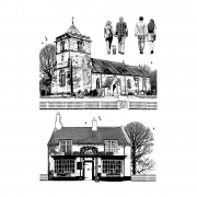 CI-474 - 'The Village Inn and Church' Art Rubber Stamps, 97mm x 136mm