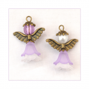 Must Haves - '2 Angel Charms in Purple, Gold and White', 25mm x 35mm