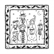 CI-485 - 'Family and Friends' Art Rubber Stamp, 93mm x 93mm