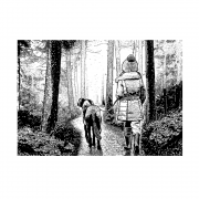 CI-489 - 'Winter Walkies' Art Rubber Stamp, 137mm x 96mm
