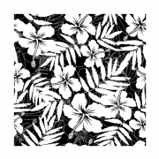 CI-491 - 'Hibiscus Repeating Background' Art Rubber Stamp, 92mm x 92mm