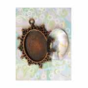 Must Haves - 'Copper Pendant Setting with Glass', 32mm x 40mm