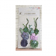 Must Haves - 'Succulent Burlap Patch Paper Flowers', 2 pcs, up to 140mm length