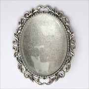 Must Haves - Silver Oval Brooch Jewellery Setting with Glass', 40mm x 50mm