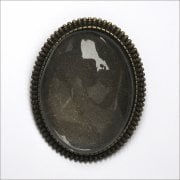 Must Haves - 'Old Gold Oval Jewellery Brooch Setting with Glass', 35mm x 45mm