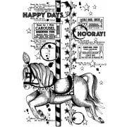 CI-516 - 'Happy Days Hooray' Art Rubber Stamp, 96mm x 137mm
