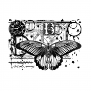 CI-518 - 'Butterfly Mornings' Art Rubber Stamp, 137mm x 96mm