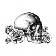 CI-529 ' 'Skull n Roses' Art Rubber Stamp, 95mm x 64mm