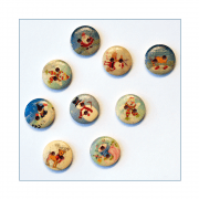 Must Haves - 'Wooden Small Round Christmas Buttons x 8', 15mm x 15mm