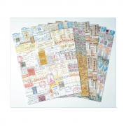 Eight A4 Background Paper Sheets - 'Ticket to Ride'