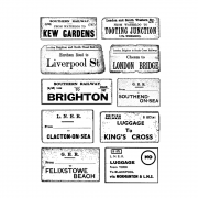 CI-536 - 'Ticket to Ride' Elements Art Rubber Stamps, 96mm x 137mm