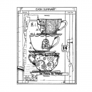 CI-547 - 'Time for Tea' Art Rubber Stamps, 94mm x 121mm