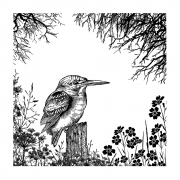CI-552 - 'Dawn Hideaway' Art Rubber Stamp, 96mm x 96mm