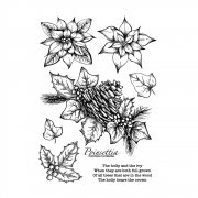 CI-556 - 'Christmas Florals' Art Rubber Stamps, 96mm x 137mm
