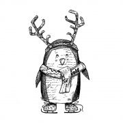 CI-557 - 'Pablo the Penguin' Art Rubber Stamp, 80mm x 135mm