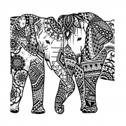 CI-562 - 'Happy Elephants' Art Rubber Stamp, 94mm x 94mm