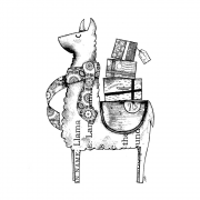 CI-567 - 'Luigi the Llama' Art Rubber Stamp, 91mm x 137mm
