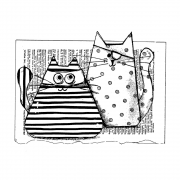 CI-571 - 'Burglar Cats' Art Rubber Stamp, 130mm x 98mm