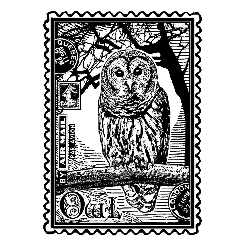 crafty individuals ci 225 airmail owl art rubber stamp 60mm x